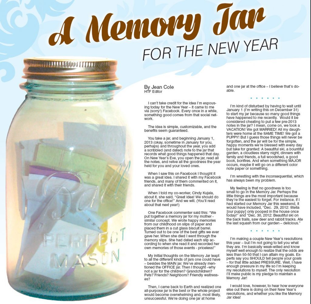 A Memory Jar For The New Year Hometown Focus Northland News Stories