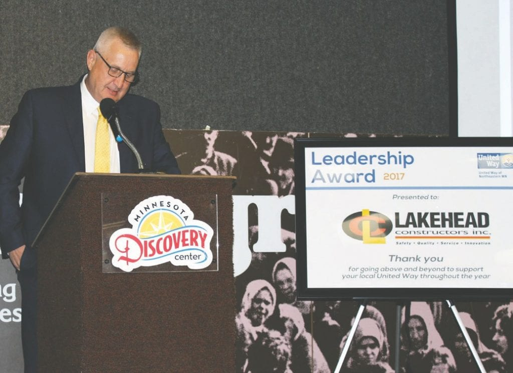 Brian Maki, chairman, president and CEO of Lakehead Constructors, provided the keynote address at United Way of Northeastern Minnesota's 51st annual Campaign Celebration. Submitted photos.