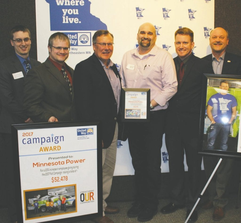 Minnesota Power was a Campaign Award winner. Pictured (l. to r.) are Arik Forsman, Jason Fisher, Brad Oachs, Shawn Jensen, Eric Clement and Al Hodnik.