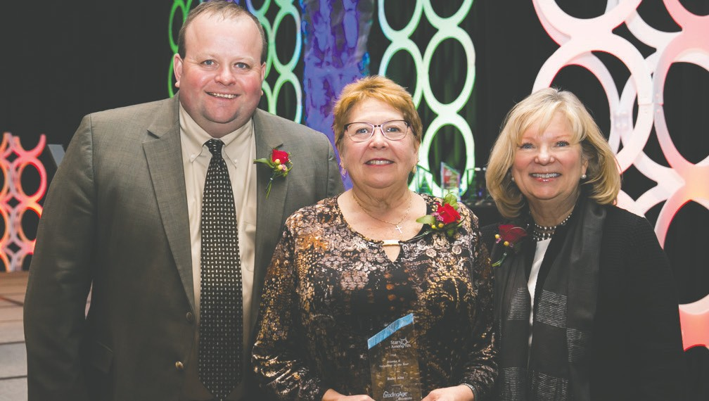 Pictured (l. to r.) are Mark Anderson, LeadingAge Minnesota board chair; Ruby Alto, District Volunteer of the Year Award winner; and Gayle Kvenvold LeadingAge Minnesota president and CEO. Submitted photo.