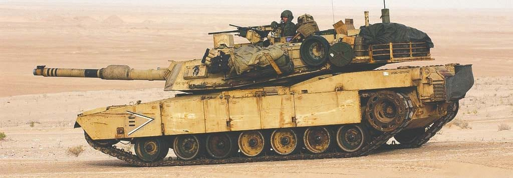 Pictured is a M1A1 Abrams tank in Iraq in 2003.