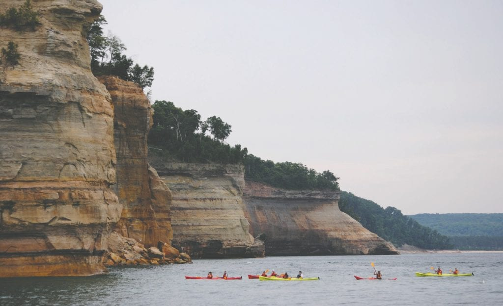 """""""Towering above Lake Superior are the most prominent of Pictured Rocks National Lakeshore's geographic and scientific features—the multicolored sandstone cliffs for which the lakeshore is named,"""" says the National Park Service website. """"These cliffs reach to a height of 200 feet above the lake and extend 15 of the 42 miles of shoreline within park boundaries."""" Submitted photos."""