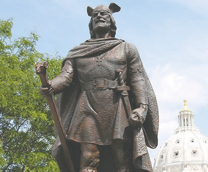 Leif Erikson is considered to be the first known European to reach North American in 1000 A.D. The monument was formally dedicated at the Minnesota State Capitol on Oct. 9, 1949, in a ceremony attended by 3,000 – 5,000 people including dignitaries from Norway, Iceland, and Alaska. Sculptor: John Karl Daniels; dedicated in 1949. Photo courtesy of mn.gov, Capitol Area Architectural and Planning Board.