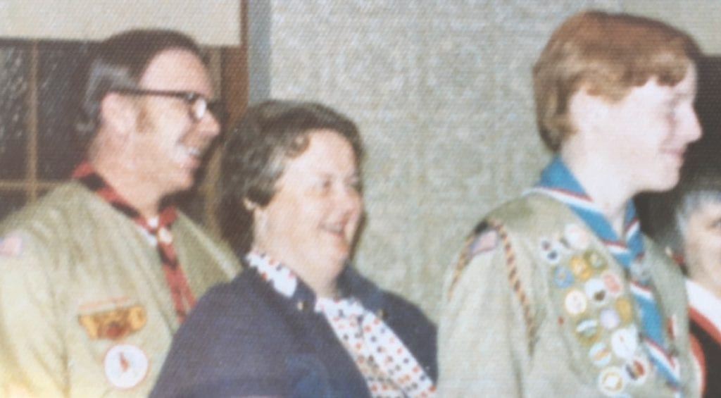 At the author's Eagle Scout presentation Jan. 8, 1974. Pictured (l. to r.) John Baumann, Irene Baumann and Patrick Baumann.