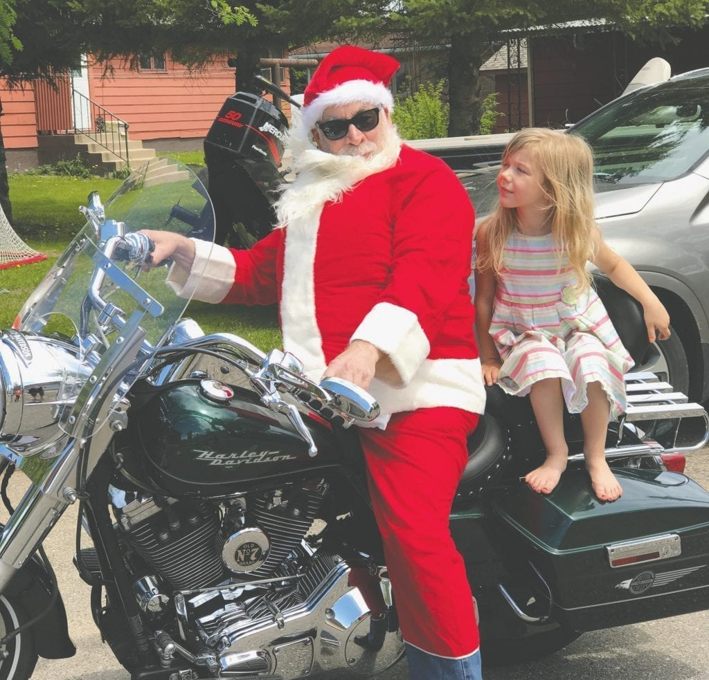 Santa [Ackerson] went to granddaughter Kalle's 5th birthday party on a Harley in May 2017. Submitted photo.
