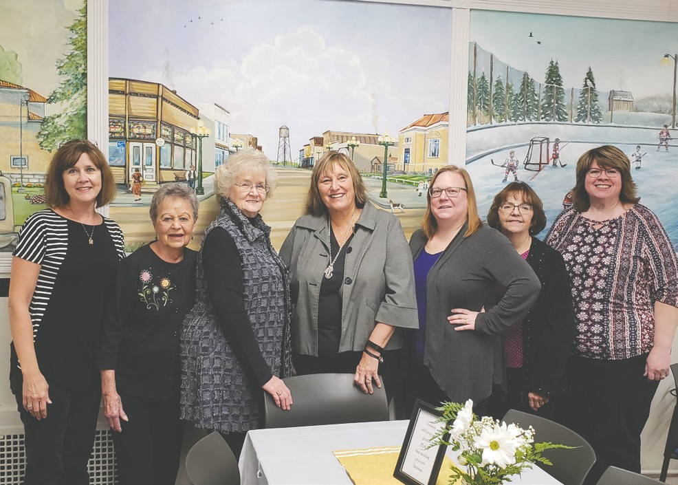 The Mt. Iron Public Library ladies—past and present library directors and assistants (l. to r.): Laurie Nieters, Darlene Anderson, Karen Luoma (former library director), Sally Yuccas (newly retired library director), Anna Amundson (new library director), Roxanne Reed and Julie Hansen. Not pictured: Rhonda McConnell. NOTE: Sally's column will be back next week. Photos by Cindy Kujala.