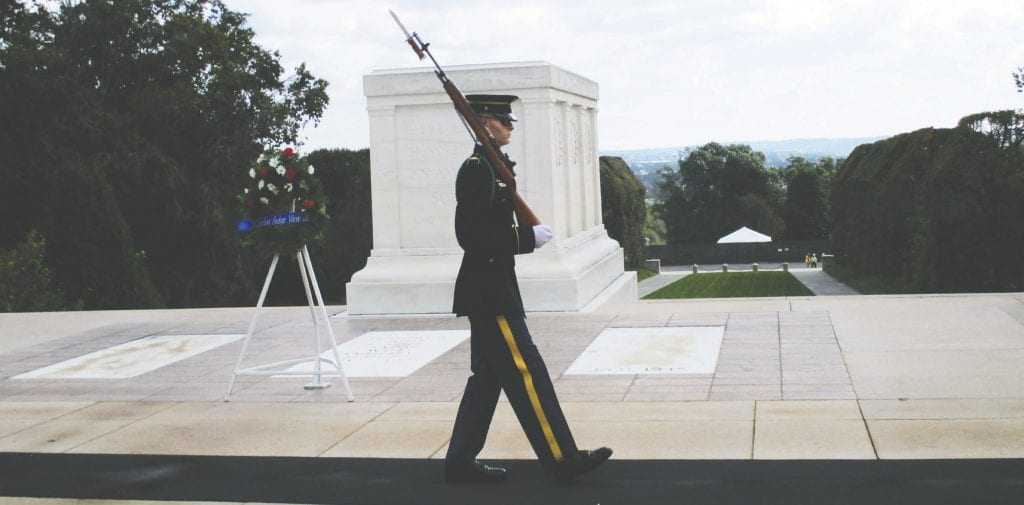 The Tomb of the Unknown Soldier is guarded 24 hours a day, 365 days a year, and in any weather by Tomb Guard sentinels, who are all volunteers.