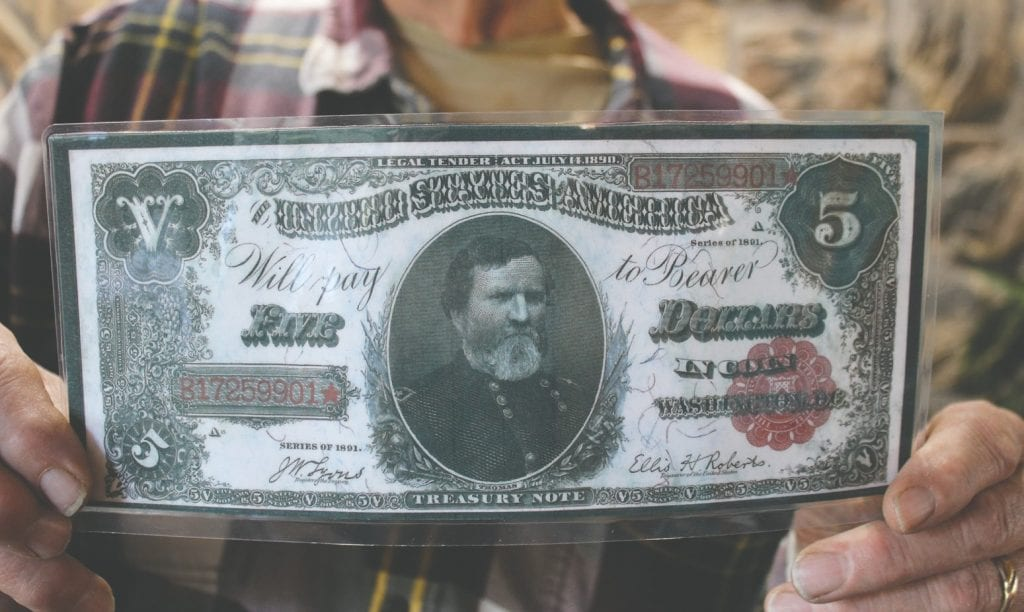 Featured here is an enlarged $5 bill bearing the picture of Army Major General George H. Thomas. Photo by Jill Pepelnjak.