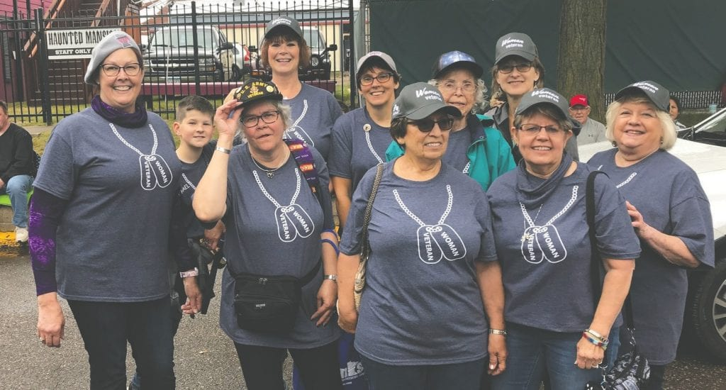 NEMN Women Veterans attended the Minnesota State Fair's annual Military Appreciation Day on Aug. 28, 2018. Pictured front row (l. to r.): Kay Sanders (Navy), Brenda Melgeorge (Army), Mary Westbrook (Navy), Sharon Panula (Air Force) and Dee Sabin (Navy). Back row: Michael Kaspari, Sheila Kaspari (Navy), Chris Magnusson (Marine Corps), Wendy Yourczek (Navy) and Tana Johnson (Air Force). Submitted photo.