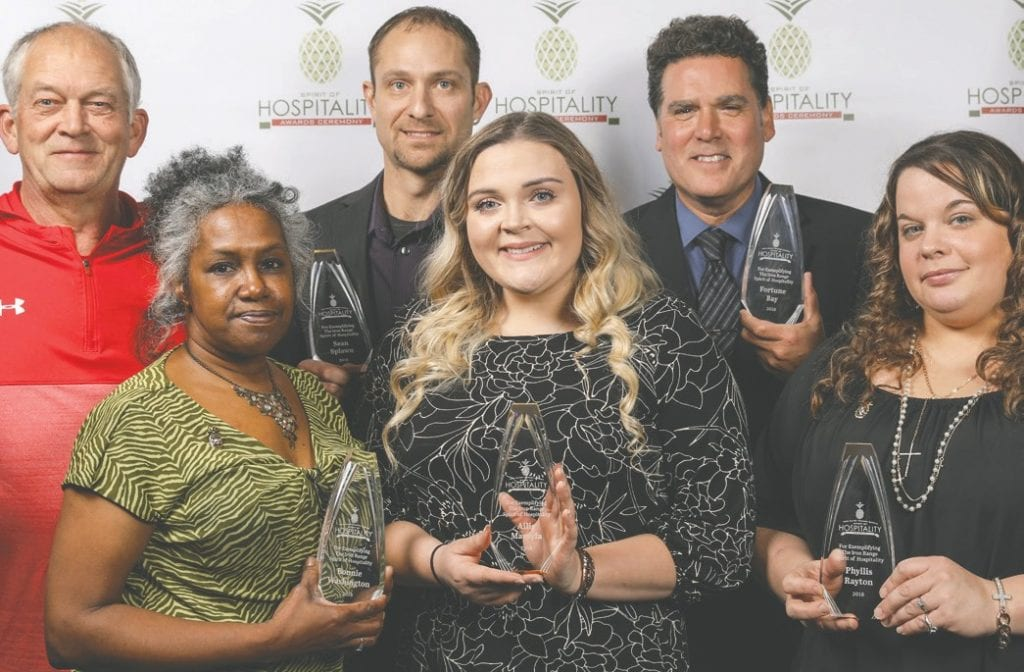 Spirit of Hospitality Awards winners. Pictured (l. to r.): Dan Darbo, Hoyt Lakes Municipal Golf Course; Bonnie Washington, Auto Zone; Sean Splawn, The Whistling Bird; Ailie Marsyla, Perkins; Brian K. Anderson, Fortune Bay Resort Casino; and Phyllis Rayton, Range Mental Health. Winners not pictured: Bonnie Avikainen, Fortune Bay Resort Casino; Greg Gilness, Olcott Park Fountain Restoration Committee; and Mollie Stanford, Arrowhead Regional Library System. Submitted photo.