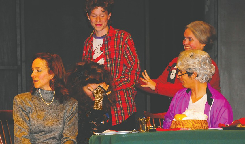 Christmas dinner is not going well. Cast members are (l. to r.) Andrea Strom, Courtney Brittingham, Shane Geiger, Morgan Sauls and Tom Bennett. Submitted photo.