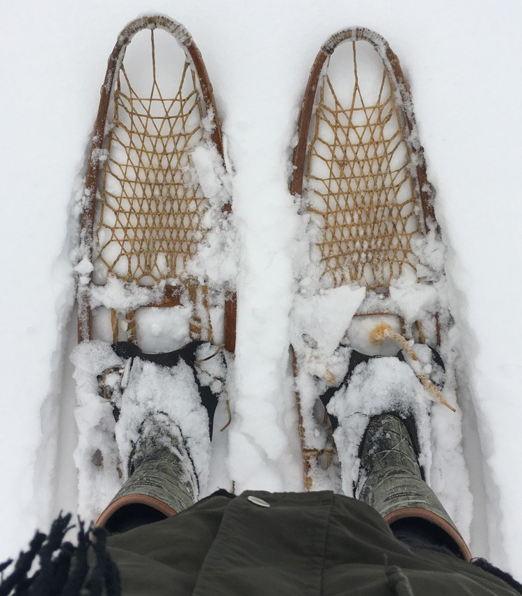 """Jody was recently gifted a pair of vintage Lund snowshoes. """"Snowshoeing just might change your whole attitude about winter,"""" Jody says. Submitted photo."""