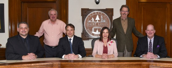 The 2019 St. Louis County Board includes (l. to r.) Mike Jugovich, Keith Nelson, Patrick Boyle, Beth Olson, Frank Jewell and Paul McDonald. A special election will be held Aug. 13 to fill the vacant 5th District commissioner seat. Submitted photo.