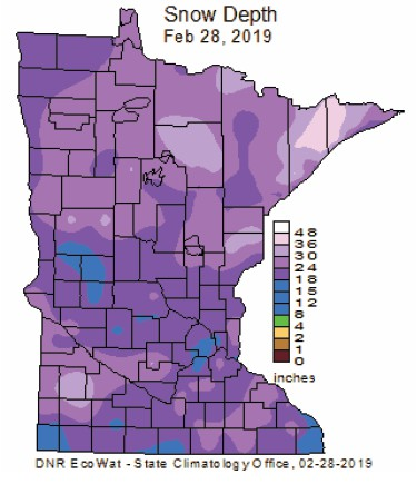 Snow depths in Minnesota as of Feb. 28, 2019. Graphic courtesy of MnDNR.