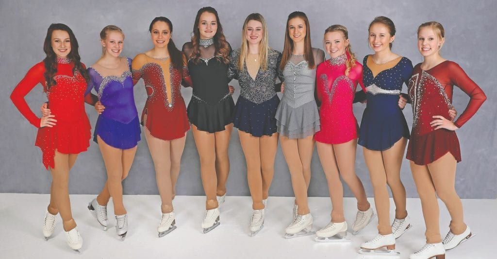 Gold medal skaters (l. to r.): Hailey Chavers, Cassie Williams, Jayda Westerbur, Josie Nemanich, Carley Tausk, Gabrielle Elliott, Abby Moore, Emma Avikainen and Kristin Williams. Photos by P/K Images.
