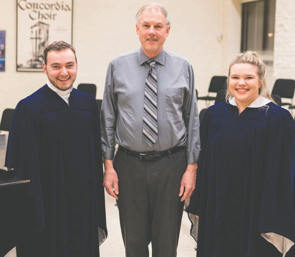 Kennedy Niska (left) and Kelly Heinonen (right), both Virginia High School graduates and current members of The Concordia Choir, are pictured with composer and conductor Dr. René Clausen. Submitted photo.