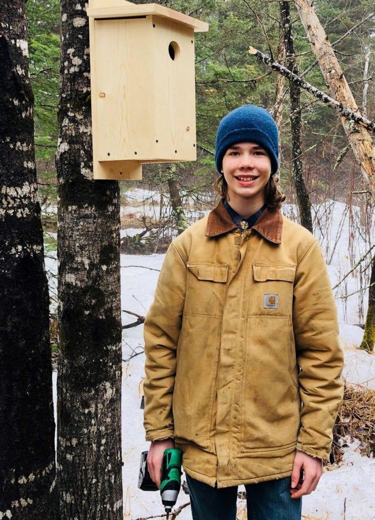 Nigel Warwas, 13, is a budding entrepreneur, specializing in species-specific birdhouses.