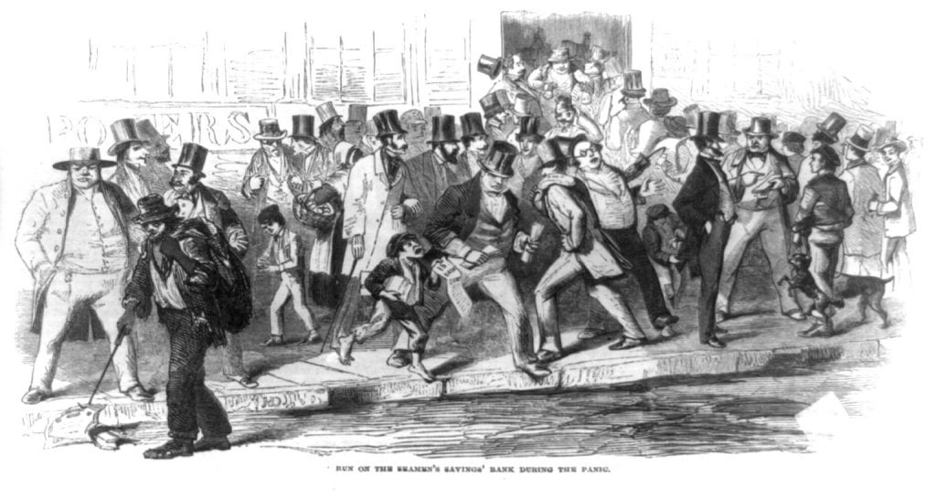 Run on the Seamen's Savings' Bank during the Panic of 1857. On Oct. 13, 1857, after the Ohio Life and Trust Co. declared bankruptcy, panic struck the New York Stock Exchange and hundreds of other banks and individual investors were ruined. This wood engraving shows a crowd gesturing and shoving. A ragpicker picks up now-worthless stock certificates, and a pickpocket operates unnoticed. Source: Wikipedia.org (public domain).