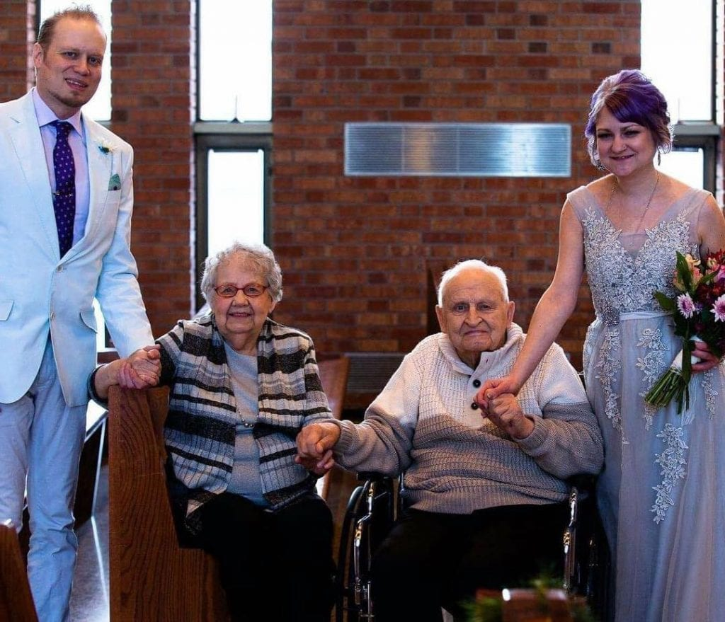 Columnist Brian Miller with his Grandma Lorraine, Grandpa Don and wife Bethany at his wedding this past December. Submitted photos.