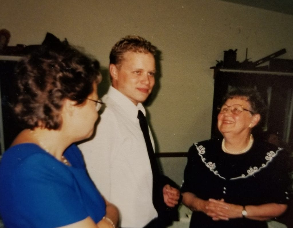 Brian and Grandma at his brother Jon's wedding in 2001.