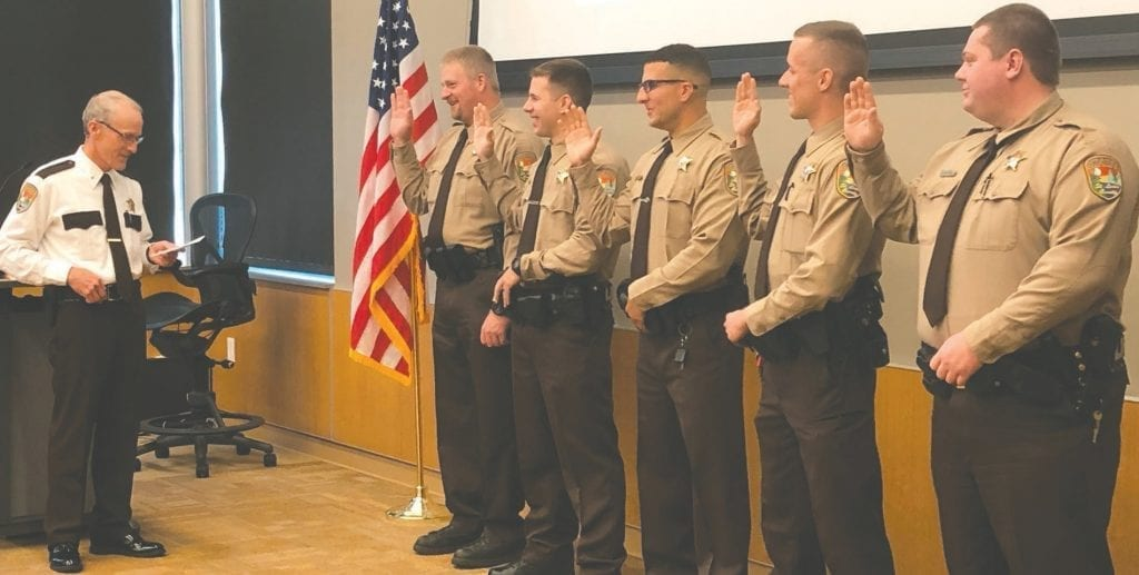 Sheriff Ross Litman administered the oath to five new deputies pictured (l. to r.): Christopher Anderson, Gavin Nichols, Dante Pettinari, Alexander Prouse and Christopher Ruberg. Submitted photos.