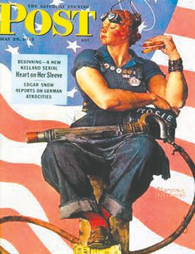 Norman Rockwell's Saturday Evening Post 1943 cover featuring Rosie the Riveter. Image source: Wikipedia.
