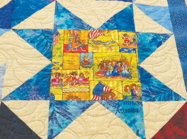 The patriotic theme is seen in this close-up look at the quilt created by Betty Soderberg, a longtime member of the Going to Pieces Quilters of Virginia.