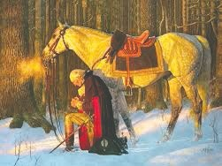 """George Washington issued his famous Thanksgiving proclamation in the first year of his presidency on Oct. 3, 1789, declaring a national day of thanks-giving on Nov. 26, 1789. Arnold Friberg's """"Washington at Valley Forge."""""""