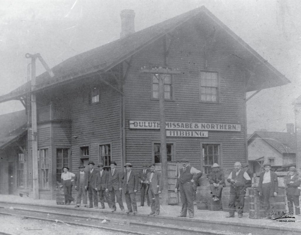 """The Duluth, Missabe and Northern Railway used one of the oldest spellings of """"Mesabi."""" Pictured here is the DM&N depot in Hibbing. Courtesy of the Hibbing Historical Society."""