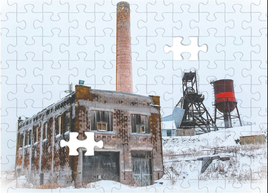 Eric Sherman's puzzles, like this one showing the former Pioneer Mine near Ely, immediately became popular for people looking for athome activities. Photo by Eric Sherman.