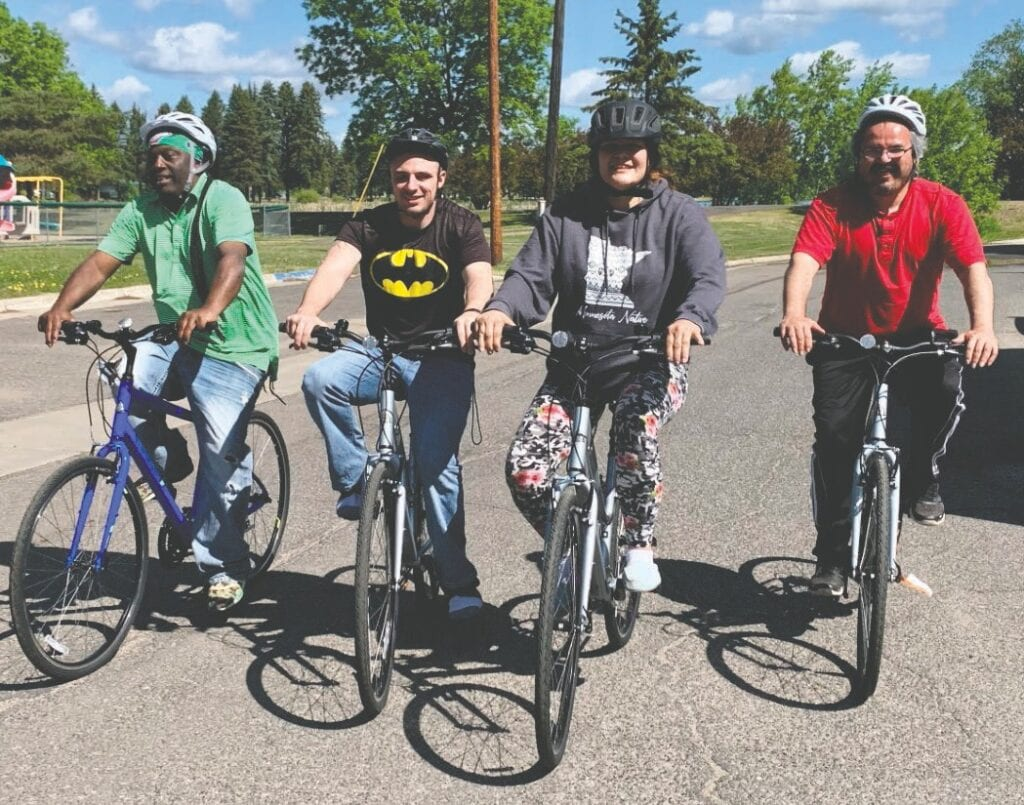 Bicycling is a good activity these days as it allows for being outside and social distancing. The four new adult bicycles and helmets recently donated to Merritt House allow residents to get outside, breathe fresh air and exercise. Photo by Kelly Grinsteinner.