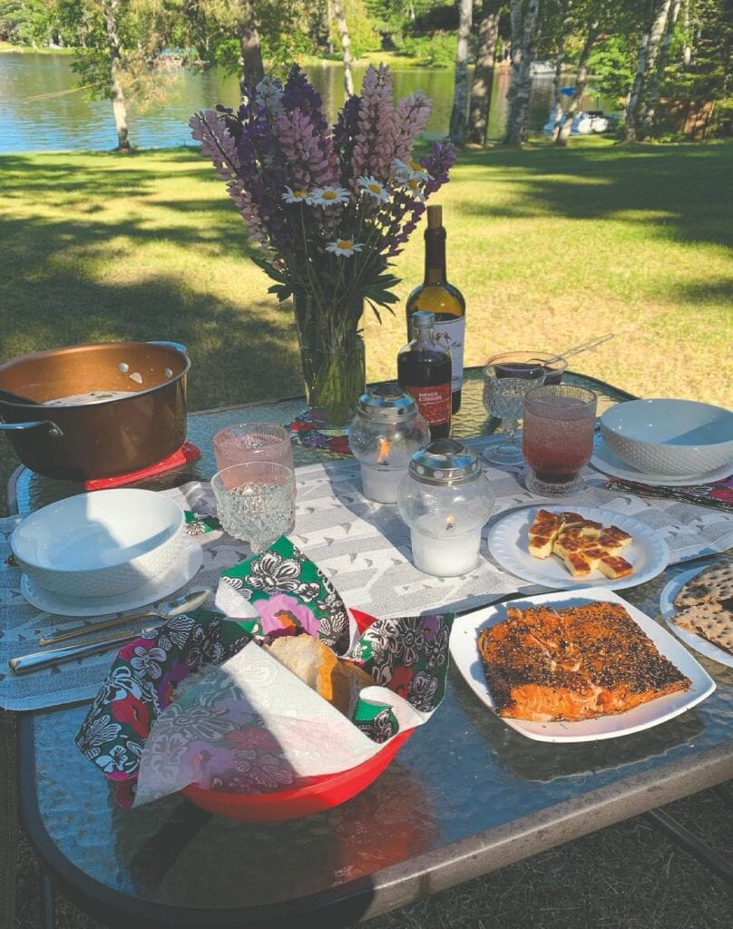 This past weekend Jody celebrated the Midsummer (or Juhannus) holiday by kicking it off with a feast overlooking the lake in traditional Finnish style. Jody's holiday feast included summer soup, smoked salmon with Finn Crisp and crackers, squeaky cheese with cloudberry jam, pickled beets, and lingonberry soda. Photos by Jody Rae.