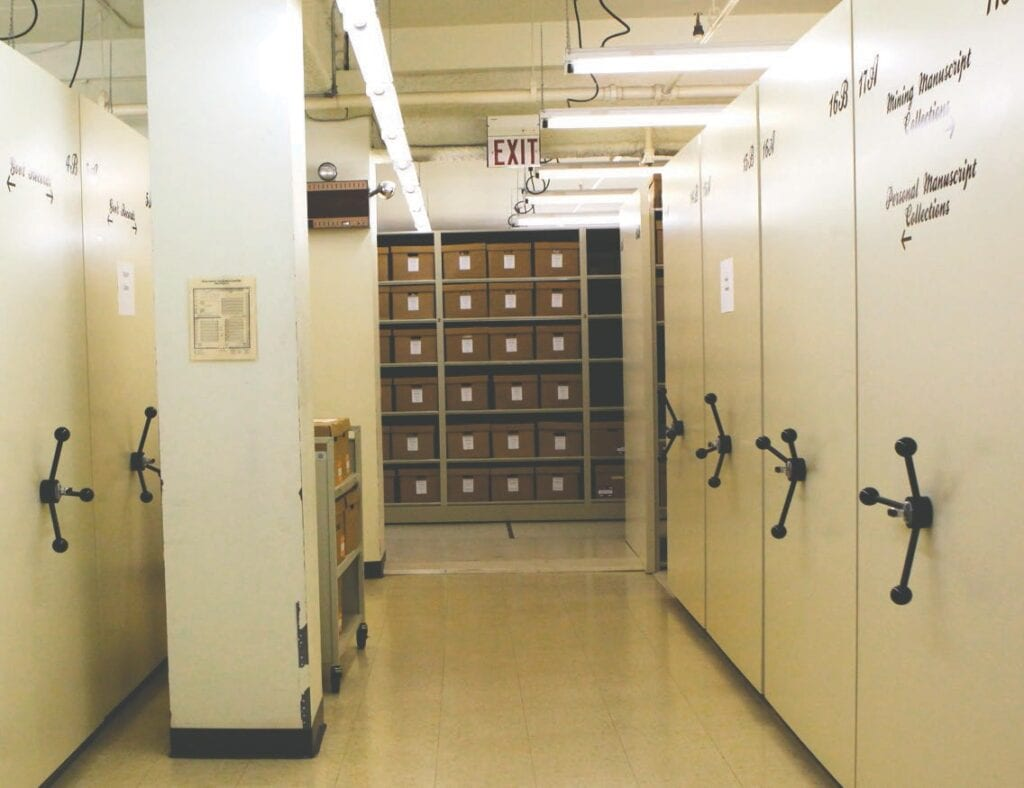 The current state of the Iron Range Research Center's archives storage room. Moveable shelving has expanded storage capacity. Submitted photos.
