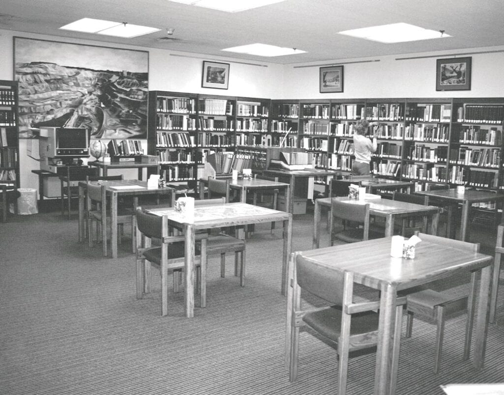 The original interior of the research center's library.