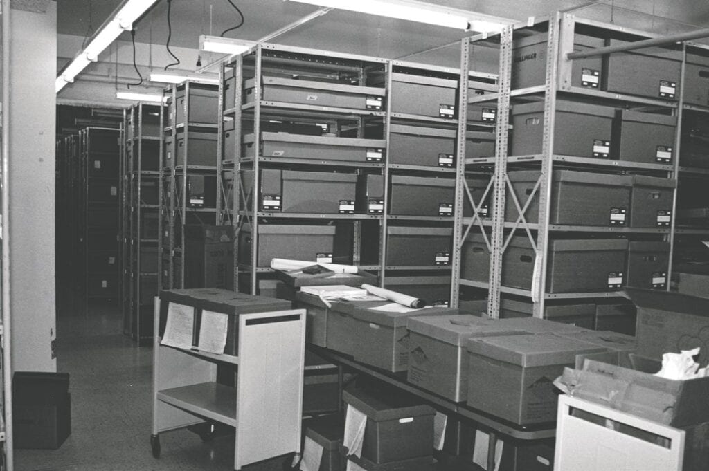 The original interior of the archives storage room below the library.