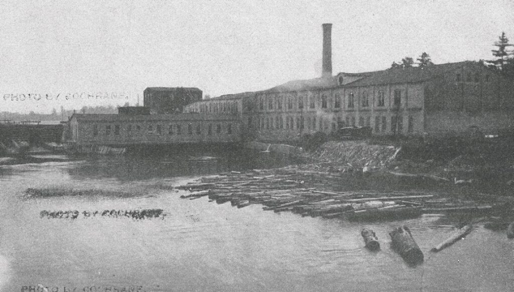 The Itasca Paper Company's plant on the Mississippi River in Grand Rapids. The company became known as the Blandin Paper Company in 1933 and today is UPM Blandin.