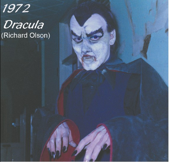 Richard is pictured here playing Dracula in 1972, the last year he participated as an actor in Scream in the Dark.