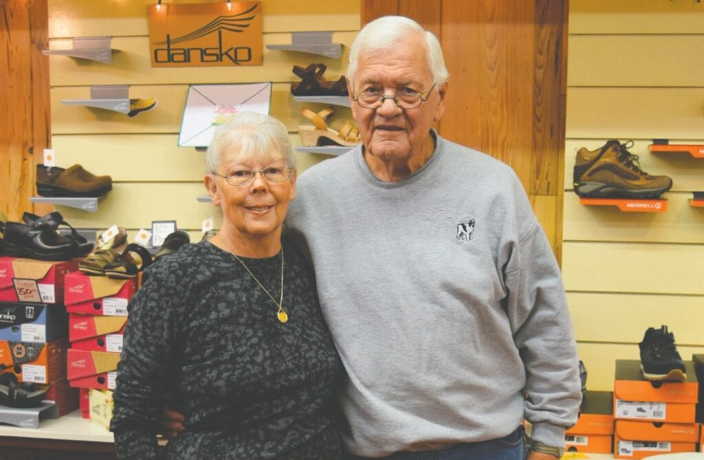 Dee and Les Skoog, owners of Skoog's Bootery in downtown Virginia, have decided to retire after 47 years. Photos by Tucker Nelson.