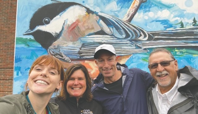 Rapids Radio used their local knowledge to find the chickadee mural at the Grand Rapids Area Library during the Itascamazing Race. Submitted photo.