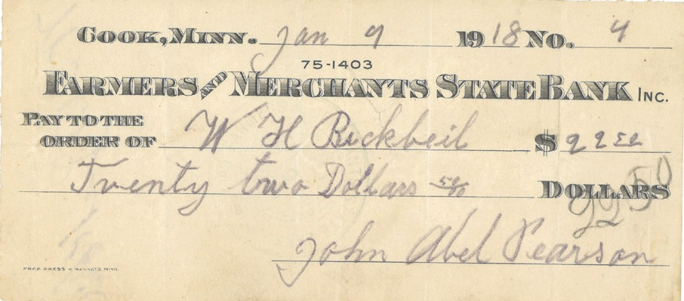Abel Pearson wrote this check for $22.50 in 1918.